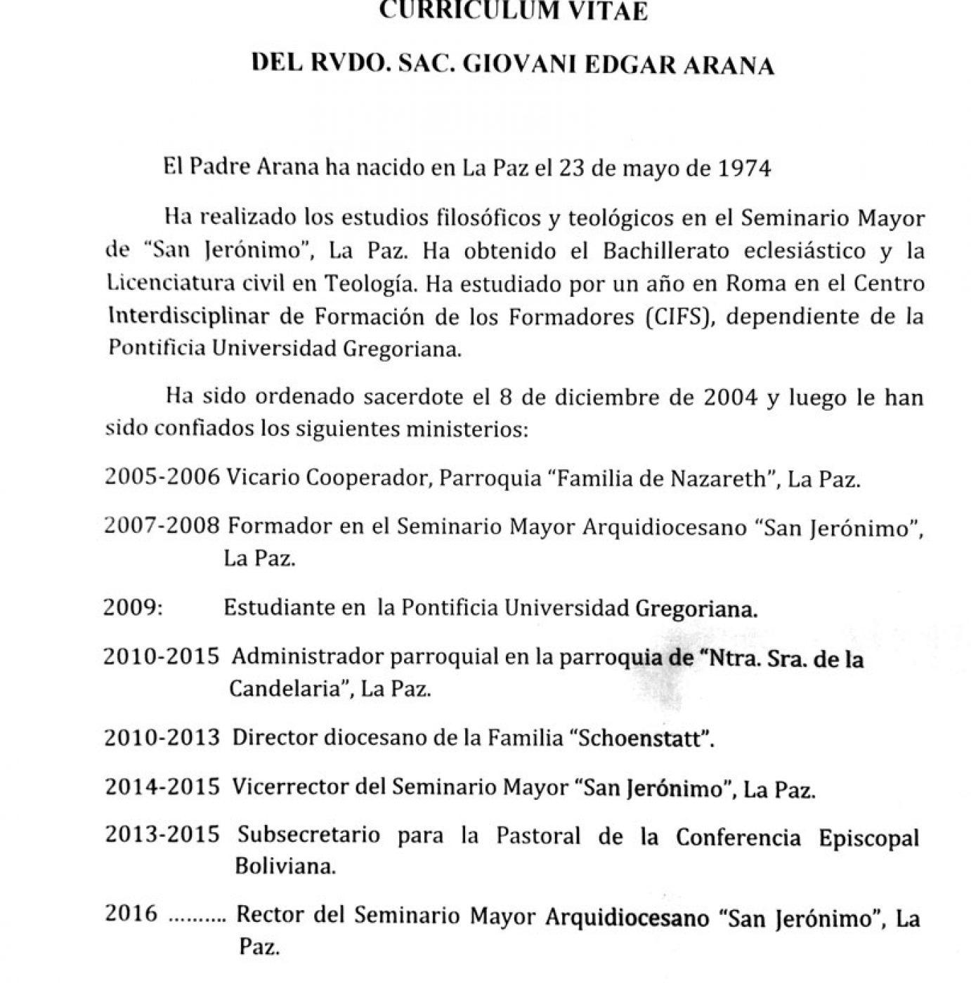 Hermosa Ejemplo De Curriculum Vitae Pastor Elaboración - Ejemplo De ...